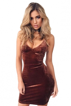 Womens V-neck Backless Spaghetti Straps Bodycon Clubwear Dress Brown