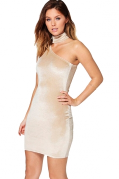 Womens Choker One Shoulder Sleeveless Plain Bodycon Dress Beige White