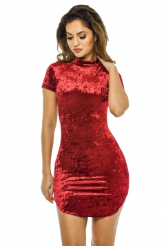 Womens Short Sleeve Plain Mini Bodycon Clubwear Dress Ruby