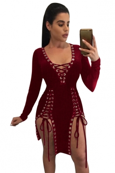 Womens Deep V Neck Sides Lace-up Long Sleeve Clubwear Dress Ruby