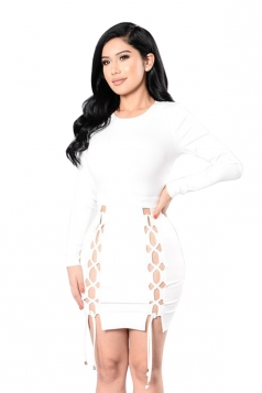 Womens Plain Long Sleeve Hollow Out Lace-up Clubwear Dress White