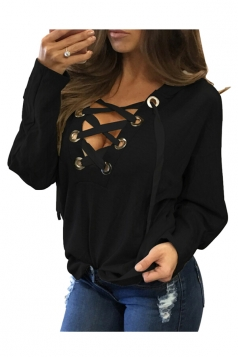 Womens Lace-up V Neck Long Sleeve Plain Hoodie Black