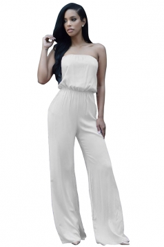 Womens Simple Tube Lace-up Back Plain Palazzo Jumpsuit White