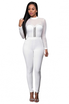 Womens Mesh Patchwork Rhinestone Long Sleeve Jumpsuit White