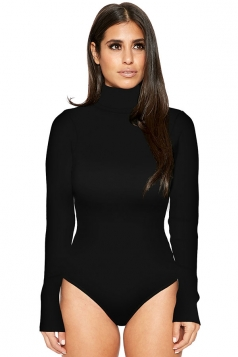 Womens Mock Neck Plain Long Sleeve Slimming Bodysuit Black
