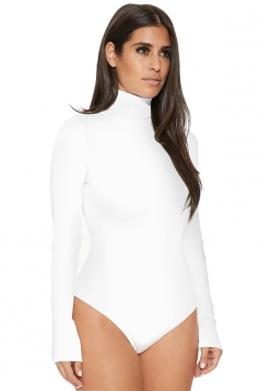 Womens Mock Neck Plain Long Sleeve Slimming Bodysuit White