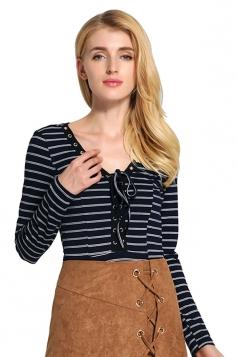 Womens Lace-up V Neck Striped Long Sleeve Bodysuit Navy Blue