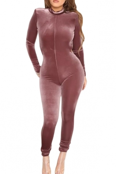 Womens Backless Long Sleeve Plain Catsuit Pink