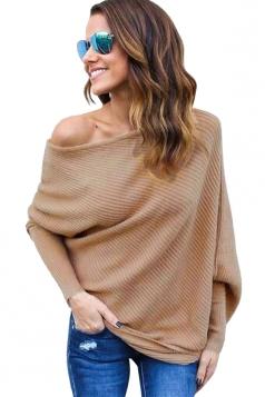 Womens Plain Pullover Boat Neck Batwing Sleeve Sweater Khaki