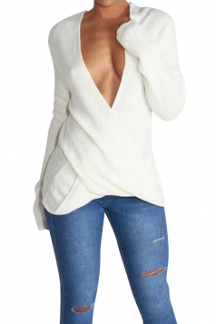 Womens Wrapped Plunging Neck Long Sleeve Pullover Sweater White
