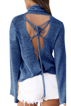 Womens Cowl Neck Lace-up Back Flare Sleeve Plain Sweater Blue
