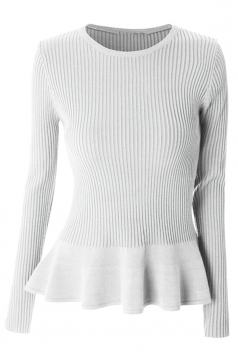 Womens Crewneck Long Sleeve Ruffled Hem Pullover Sweater White