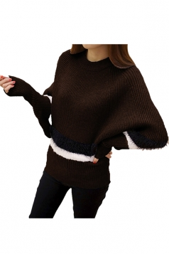 Womens Color Block Striped Long Sleeve Pullover Sweater Coffee