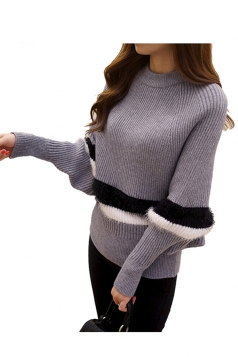 Womens Color Block Striped Long Sleeve Pullover Sweater Gray