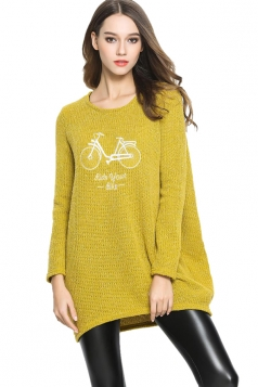 Womens Loose Bike Patterned Long Sleeve Pullover Sweater Yellow