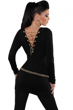 Womens Knit V Neck Chain Lace-up Back Long Sleeve Sweater Black