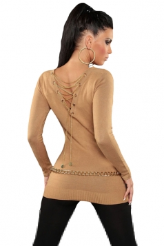 Womens Knit V Neck Chain Lace-up Back Long Sleeve Sweater Khaki