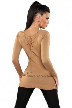 Womens Knit V Neck Chain Lace-up Back Long Sleeve Sweater Khaki