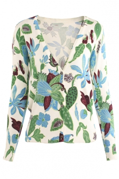 Womens V Neck Single-breasted Leaf Patterned Cardigan Sweater Green