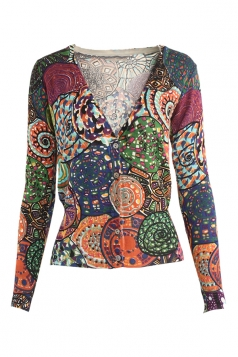 Womens V Neck Single-breasted Exotic Patterned Cardigan Sweater Orange
