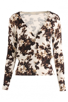 Womens V Neck Single-breasted Floral Patterned Cardigan Sweater Khaki