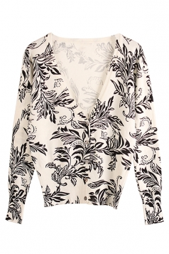 Womens V Neck Single-breasted Floral Patterned Cardigan Sweater White