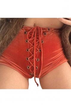 Womens Velvet Lace-up High Waist Mini Shorts Orange