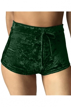 Womens Pleuche Drawstring High Waist Plain Mini Shorts Dark Green