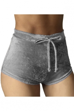 Womens Pleuche Drawstring High Waist Plain Mini Shorts Gray