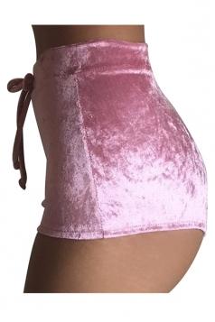 Womens Pleuche Drawstring High Waist Plain Mini Shorts Pink