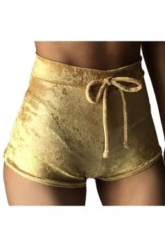 Womens Pleuche Drawstring High Waist Plain Mini Shorts Yellow