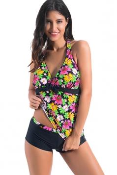 Womens Halter Floral Tankini Top&Boy Shorts Swimsuit Bottom Black