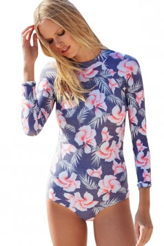 Womens Floral Printed Long Sleeve Zip Up Back Monokini Navy Blue