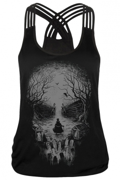 Womens Skull Printed Criss Cross Strappy Camisole Top Gray