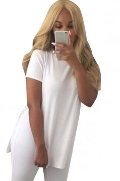 Womens Sides Slit Short Sleeve Plain T Shirt White