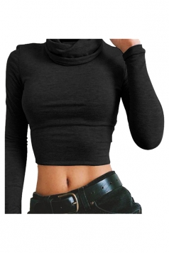 Womens Turtleneck Long Sleeve Plain Crop Top Black