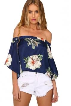 Womens Floral Printed Flare Sleeve Elastic Off Shoulder Top Navy Blue