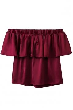 Womens Plain Ruffled Elastic Off Shoulder Top Ruby