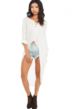 Womens High Low Lace-up Chiffon Long Sleeve Sheer Blouse White