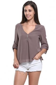 Womens V-neck High Low Plain Button Decor Blouse Coffee