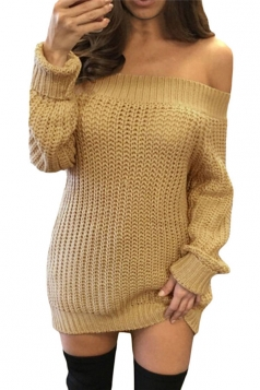 Womens Off Shoulder Ripped Back Long Sleeve Sweater Dress Khaki
