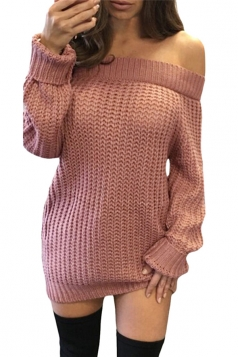Womens Off Shoulder Ripped Back Long Sleeve Sweater Dress Pink