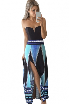 Womens Color Block Geometric Printed Side Slit Maxi Dress Blue