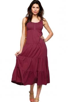 Womens Plain Button Decor Pleated Tank Dress Dark Red