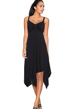 Womens Draped Bow Asymmetric Hem Sleeveless Midi Dress Black