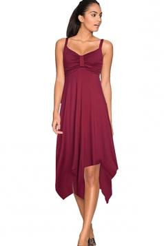 Womens Draped Bow Asymmetric Hem Sleeveless Midi Dress Dark Red