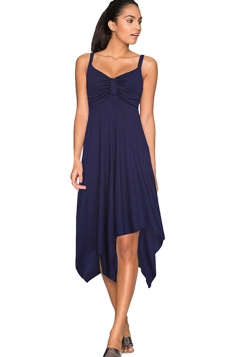 Womens Draped Bow Asymmetric Hem Sleeveless Midi Dress Sapphire Blue