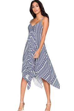 Womens Exotic Printed Draped Asymmetric Midi Dress Sapphire Blue