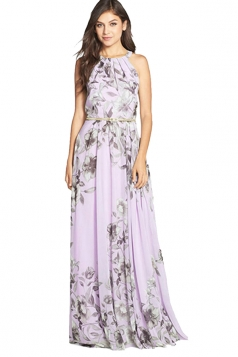 Womens Floral Printed Sleeveless Floor Length Dress Light Purple