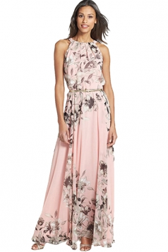 Womens Pretty Floral Printed Sleeveless Floor Length Dress Pink